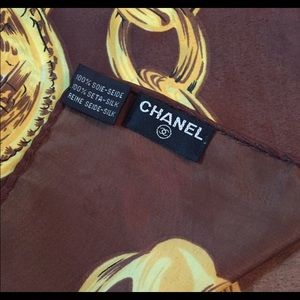 CHANEL CC Brown and Gold Chain silk scarf with box